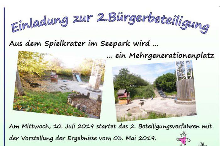 Spielkrater Seepark: 2. Bürgerbeteiligung | 10. Juli 2019